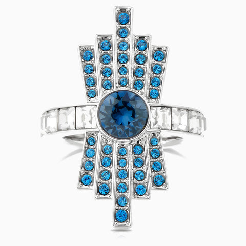 ATELIER KARL LAGERFELD COCKTAIL RING, BLUE, PALLADIUM PLATED