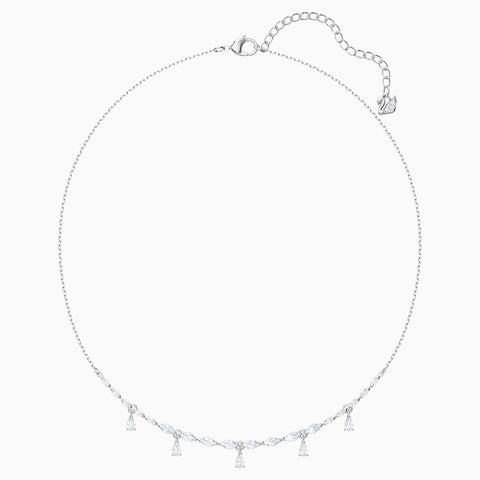 LOUISON NECKLACE, WHITE, RHODIUM PLATED