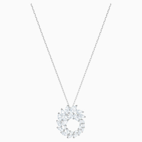 LOUISON PENDANT, WHITE, RHODIUM PLATED
