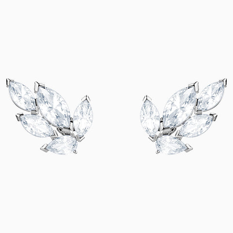 SWAROVSKI, LOUISON STUD PIERCED EARRINGS, WHITE, RHODIUM PLATED
