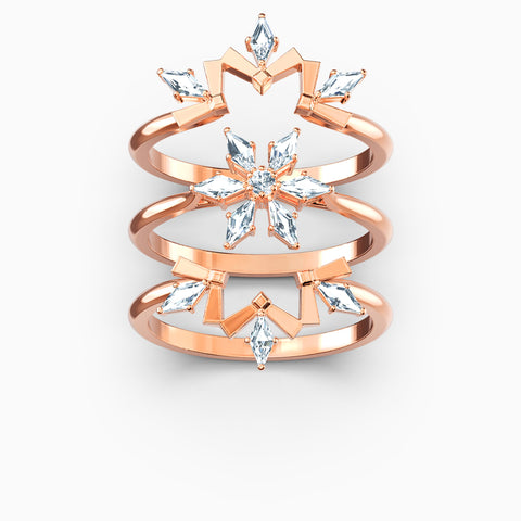 NEW MAGIC RING SET, WHITE, ROSE-GOLD TONE PLATED