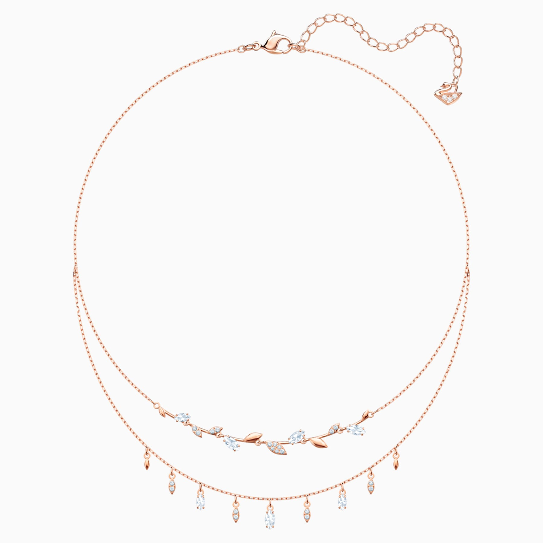 SWAROVSKI MAYFLY NECKLACE, WHITE, ROSE-GOLD TONE PLATED