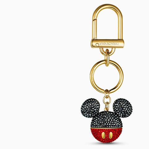 MICKEY BAG CHARM, BLACK, GOLD-TONE PLATED