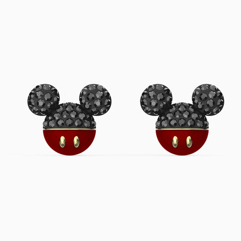 NEW MICKEY PIERCED EARRINGS, BLACK, GOLD-TONE PLATED