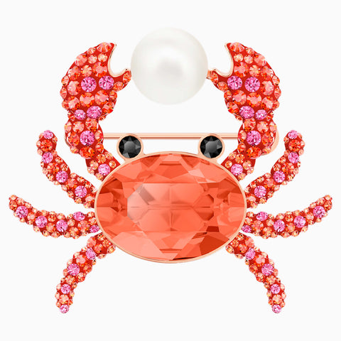 OCEAN CRAB BROOCH, MULTI-COLORED, ROSE-GOLD TONE PLATED