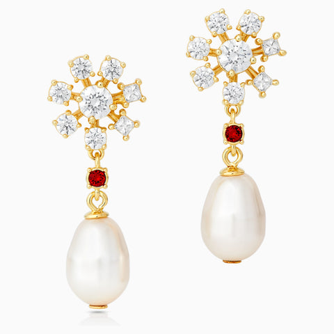 ATELIER NEW PENÉLOPE CRUZ ICONS OF FILM PEARL PIERCED EARRINGS, RED, GOLD-TONE PLATED
