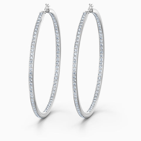 RARE HOOP PIERCED EARRINGS, WHITE, RHODIUM PLATED