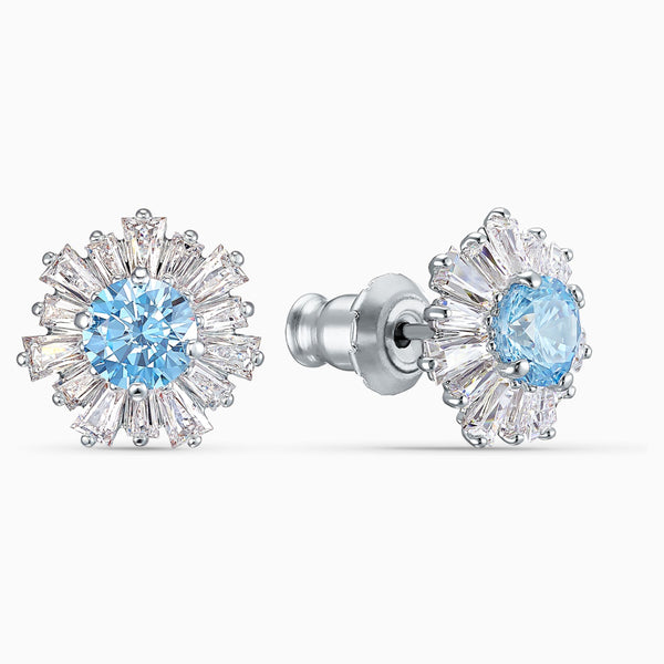 SUNSHINE PIERCED EARRINGS, BLUE, RHODIUM PLATED
