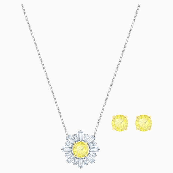 SUNSHINE SET, WHITE, MIXED METAL FINISH