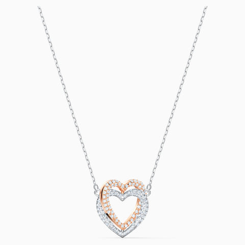 SWAROVSKI INFINITY DOUBLE HEART NECKLACE, WHITE, MIXED METAL FINISH