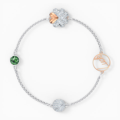 NEW SWAROVSKI REMIX COLLECTION CLOVER STRAND, GREEN, MIXED METAL FINISH