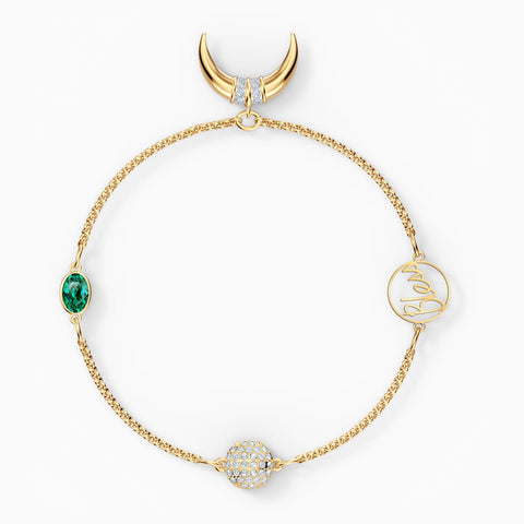 NEW SWAROVSKI REMIX COLLECTION HORN STRAND, GREEN, GOLD-TONE PLATED