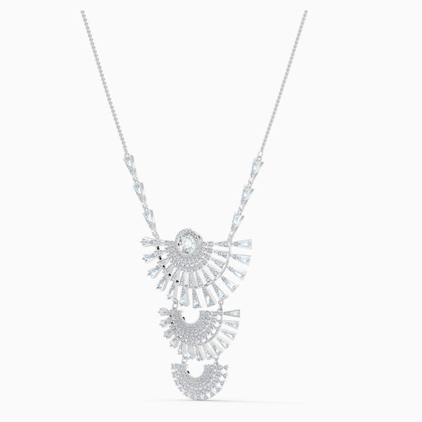 NEW SWAROVSKI SPARKLING DANCE DIAL UP NECKLACE, LARGE, WHITE, RHODIUM PLATED