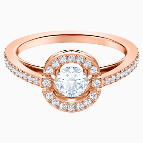 SWAROVSKI SPARKLING DANCE ROUND RING, WHITE, ROSE-GOLD TONE PLATED