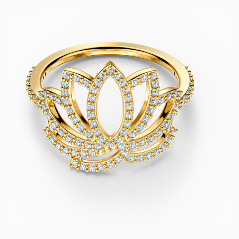 SWAROVSKI SYMBOLIC LOTUS RING, WHITE, GOLD-TONE PLATED