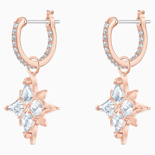 SWAROVSKI SYMBOLIC STAR HOOP PIERCED EARRINGS, WHITE, ROSE-GOLD TONE PLATED
