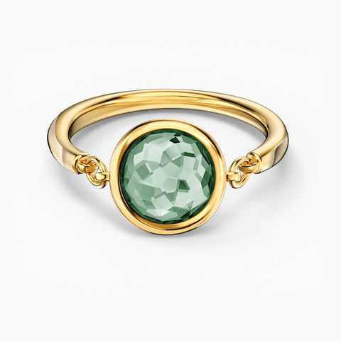 NEW TAHLIA RING, GREEN, GOLD-TONE PLATED