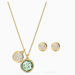TAHLIA SET, GREEN, GOLD-TONE PLATED