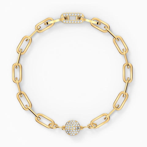 NEW THE ELEMENTS CHAIN BRACELET, WHITE, GOLD-TONE PLATED