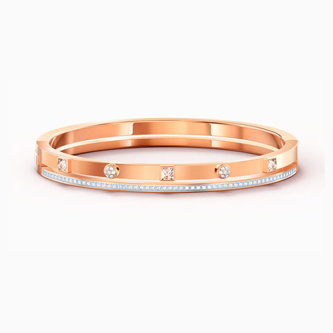 NEW THRILLING BANGLE, WHITE, ROSE-GOLD TONE PLATED