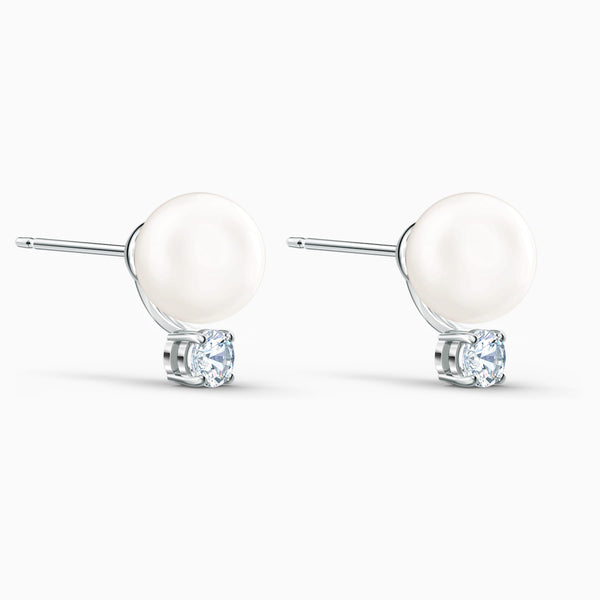 NEW TREASURE PEARL PIERCED EARRINGS, WHITE, RHODIUM PLATED