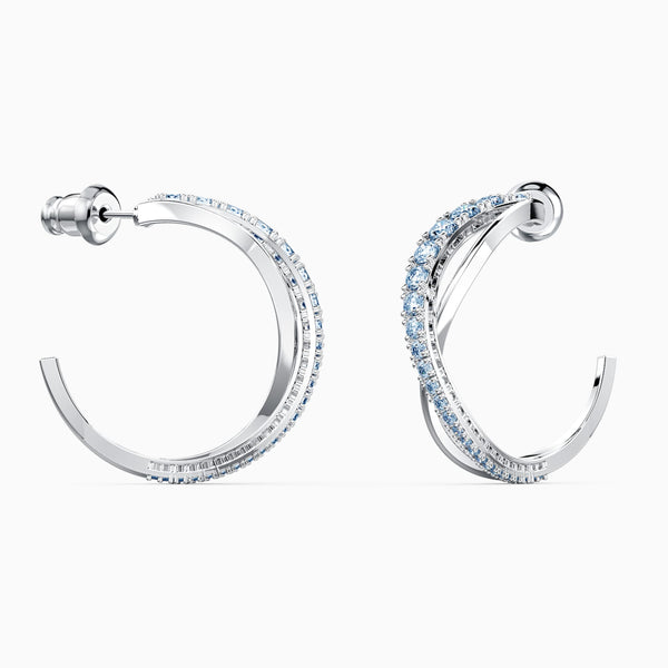 NEW TWIST HOOP PIERCED EARRINGS, BLUE, RHODIUM PLATED