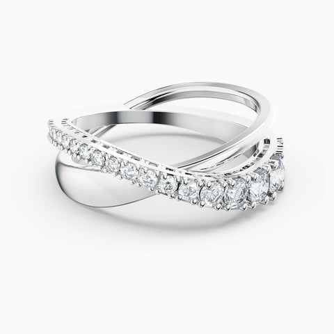 NEW TWIST ROWS RING, WHITE, RHODIUM PLATED