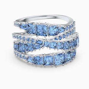 NEW TWIST WRAP RING, BLUE, RHODIUM PLATED