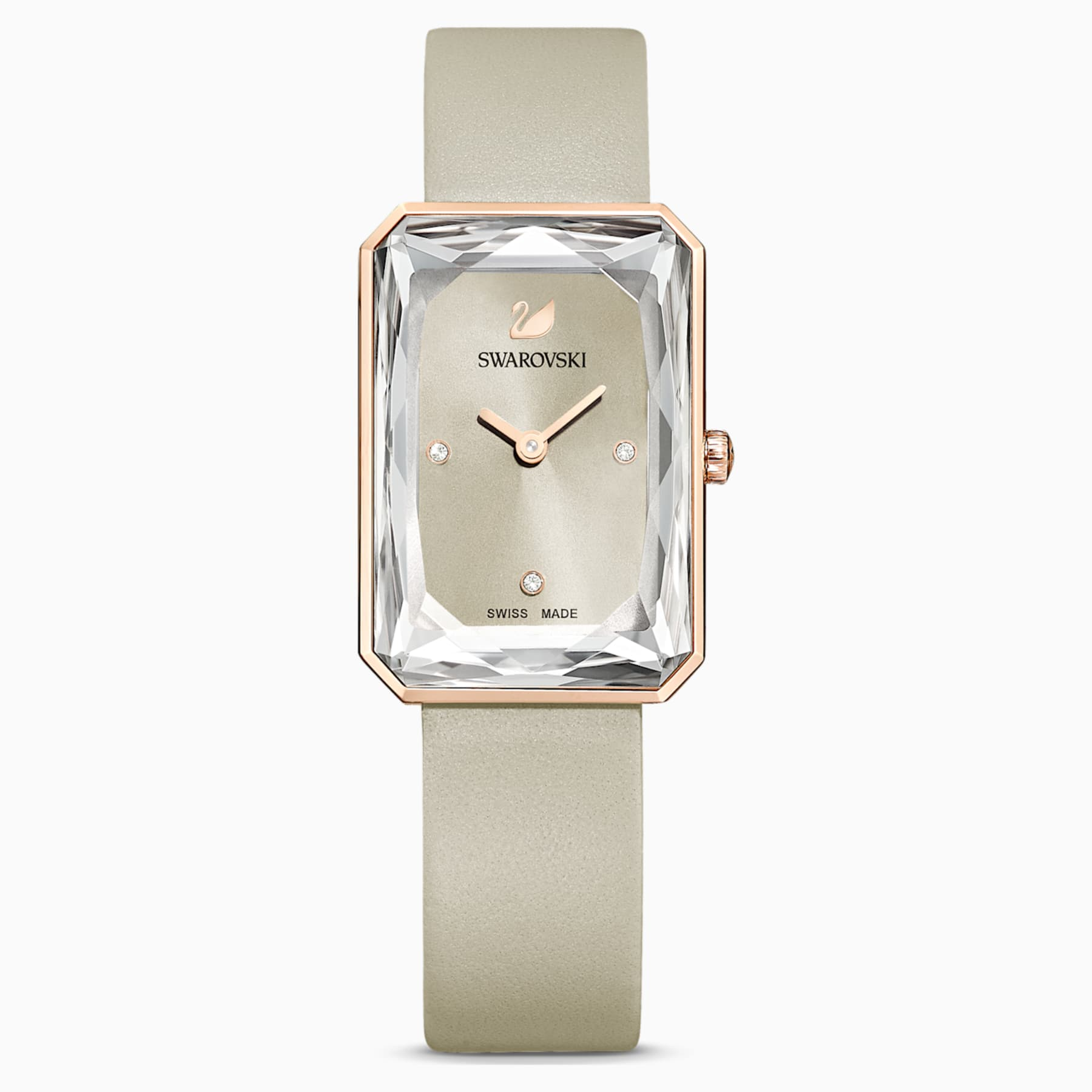 UPTOWN WATCH, LEATHER STRAP, GRAY, ROSE-GOLD TONE PVD