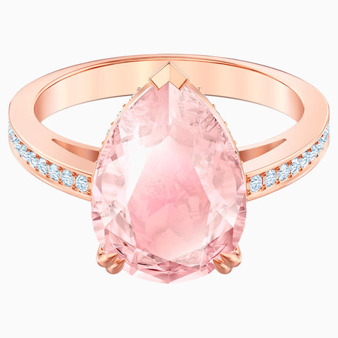 VINTAGE COCKTAIL RING, PINK, ROSE-GOLD TONE PLATED