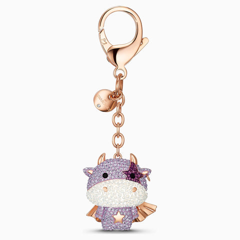 NEW ZODIAC COW BAG CHARM, PURPLE, ROSE-GOLD TONE PLATED