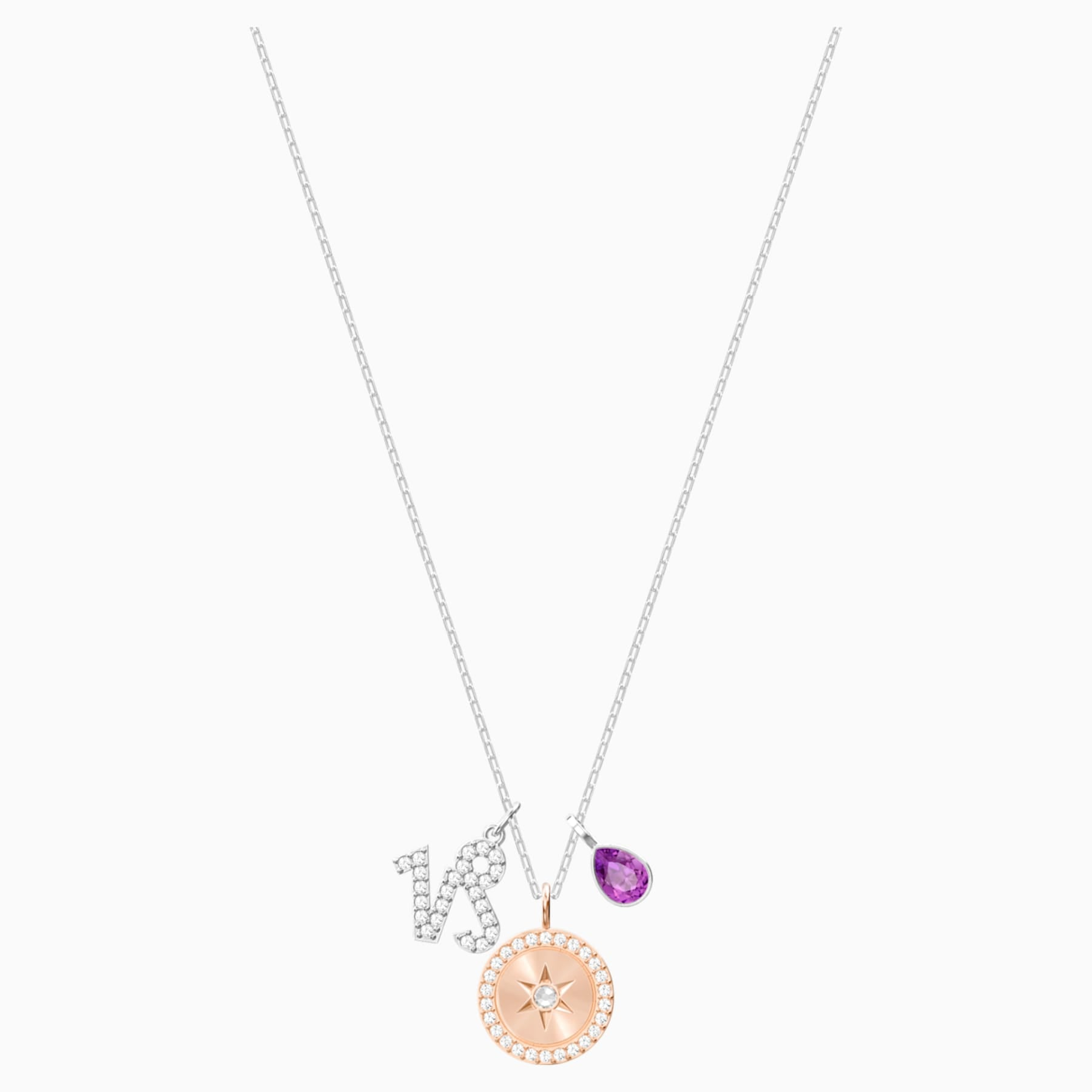 SWAROVSKI, ZODIAC PENDANT, CAPRICORN, PURPLE, RHODIUM PLATED