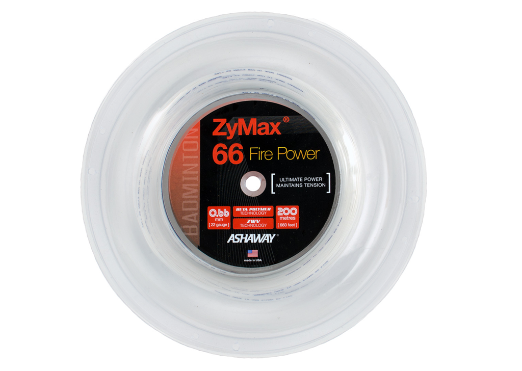 Ashaway ZyMax 66 Fire Power badminton string 200m reel