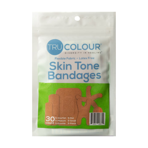 Tru-Colour Skin Tone Assorted Bandages: Olive Single Bag (30-Count, Green Bag)