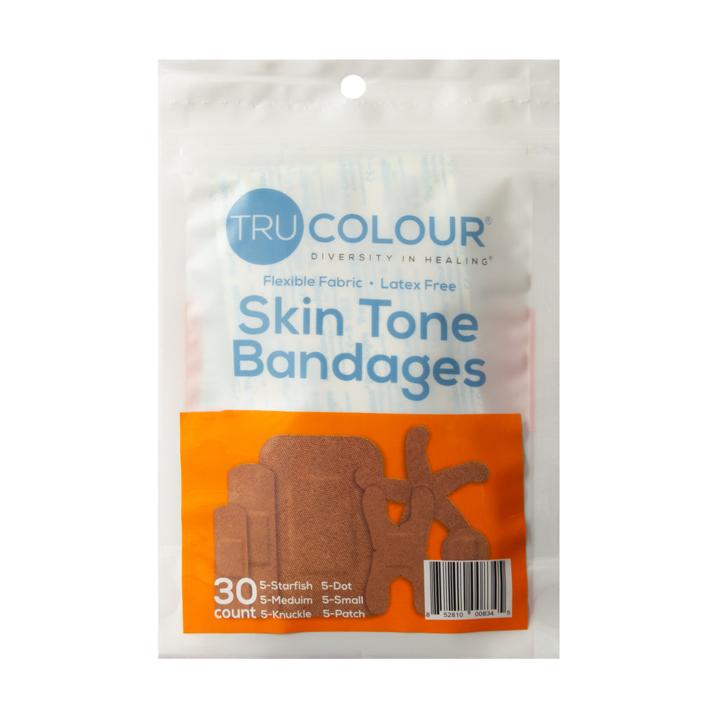 Tru-Colour Skin Tone Assorted Bandages: Brown Single Bag (30-Count, Orange Bag)