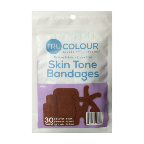 Tru-Colour Skin Tone Assorted Bandages: Dark Brown Single Bag (30-Count, Purple Bag)