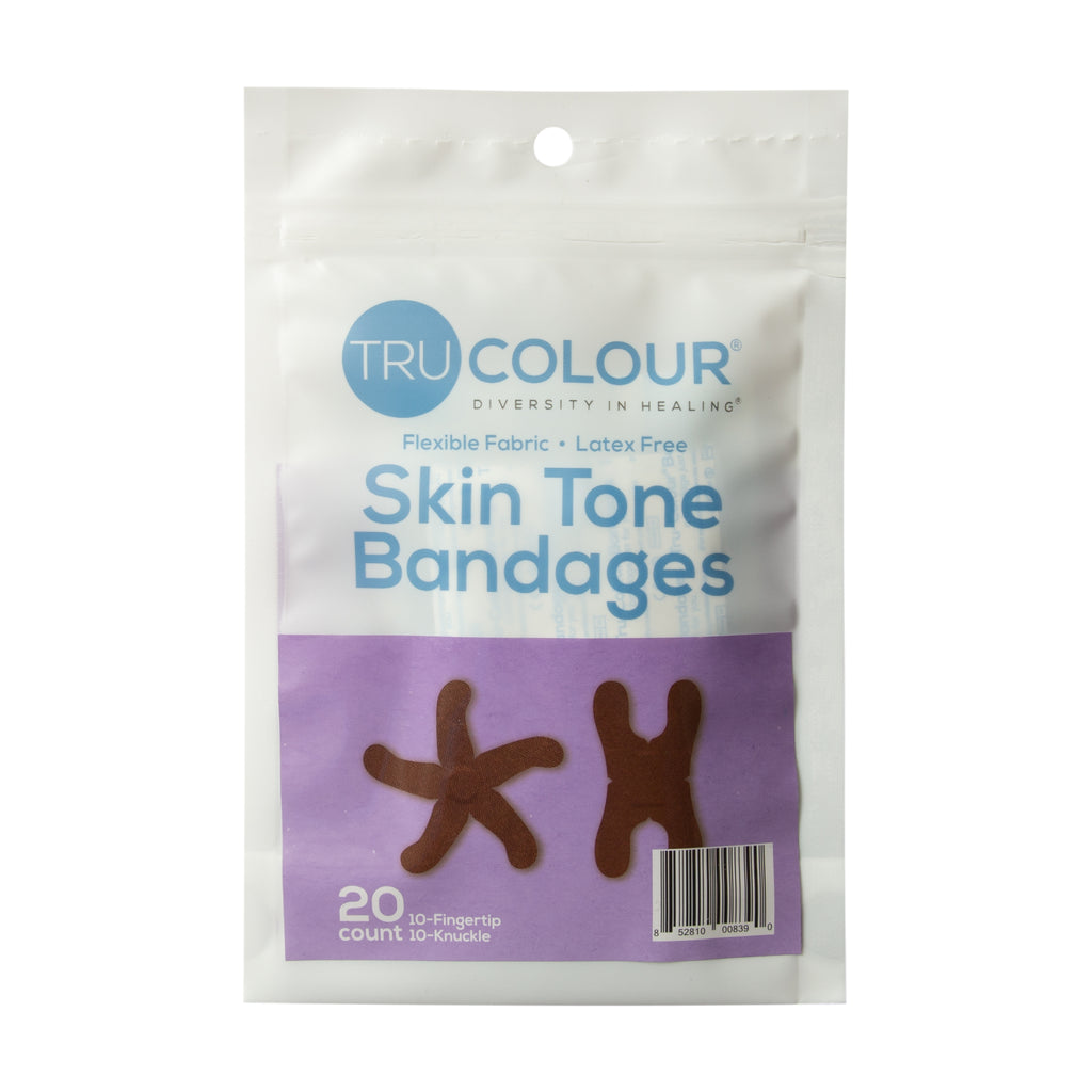 Tru-Colour Skin Tone Fingertip & Knuckle Bandages: Dark Brown Single Bag (20-Count, Purple Bag)