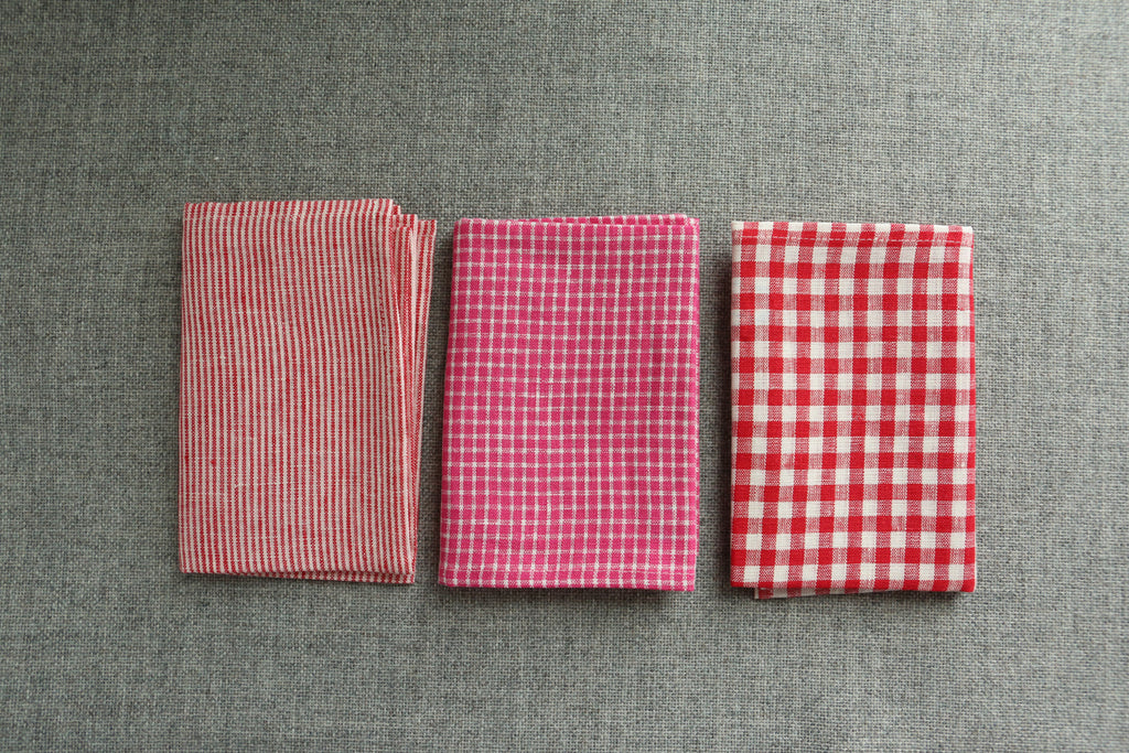 Linen Kitchen Towel - Pink or Red