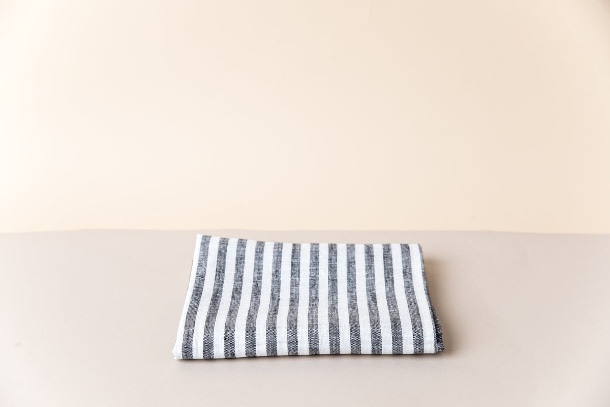 Linen Kitchen Towel - Ebony Stripe