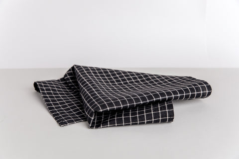 Linen Kitchen Towel - Ebony Windowpane