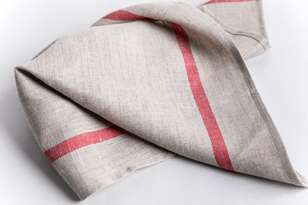 Heavy Linen Kitchen Towel - Natural with Red Stripe