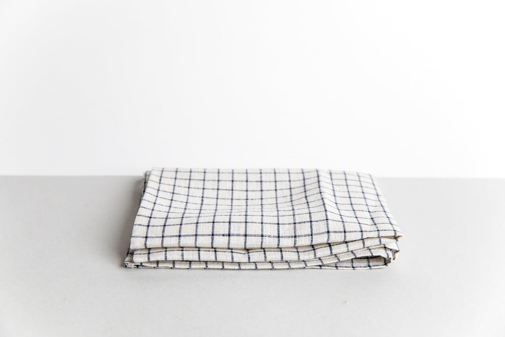 Linen Kitchen Towel - Navy Windowpane