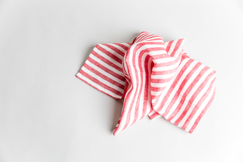 Linen Kitchen Towel - Red Stripe