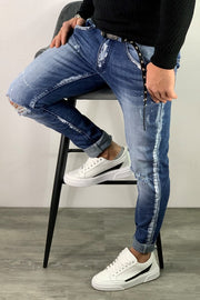 DESTROYED CROPPED PAINT JEANS LIGHT BLUE Z103 - ZERO81
