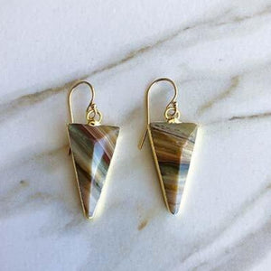 Ocean jasper triangle drop earrings in gold