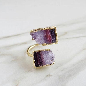 Amethyst and gold duo ring in shades of purple