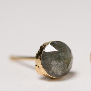 Small labradorite stone earring with gold posts