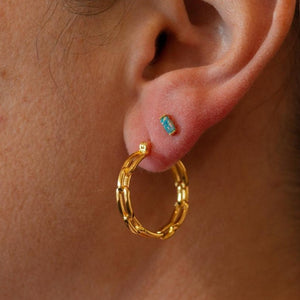 Small gold chain hoop earrings on model