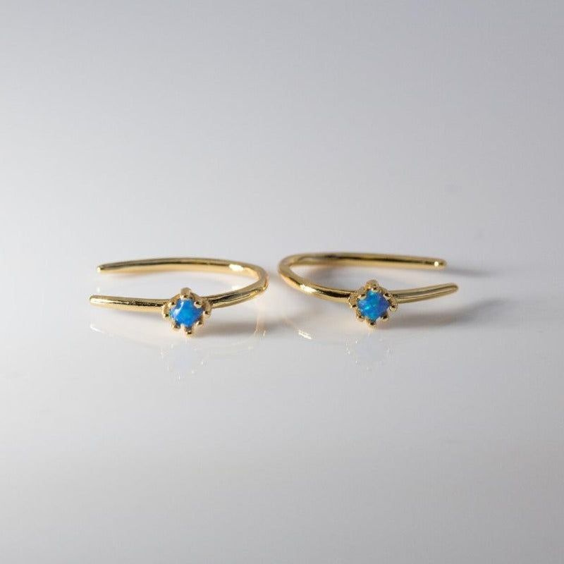 Ocean blue small opal stones on small gold open hook earrings