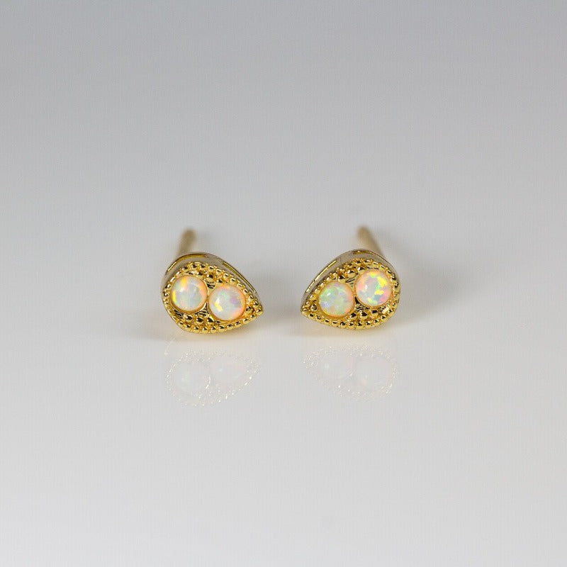 Double Pave Tear Drop Studs